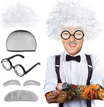 Beelittle Old Man Mad Scientist Set de Pelucas Albert Einstien Ben ...