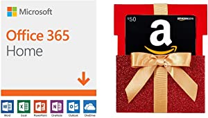 Microsoft Office 365 Home | 12-month subscription with Auto-renewal, up to 6 people, PC/Mac Download + $50 Amazon.com Gift Card