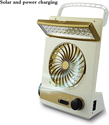 Solar Rechargeable Fan Multi-function LED Camping Light Table Lamp Portable Fans