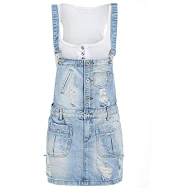 d99869ca75a SS7 Womens Dungaree Dress Ripped Denim, Size 6 to 14 (8, Denim Light Blue):  Amazon.co.uk: Clothing