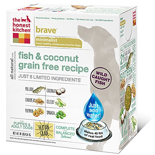 The Honest Kitchen Brave Grain Free Dog Food - Dehydrated Minimalist Limited Ingredient Dog Food, Fish & Coconut, 10 lbs (Makes 40 lbs) by Honest Kitchen
