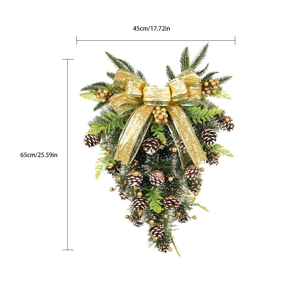 Awhao Inverted Christmas Tree Shape Decoration Pine Cone PE Mixing ...