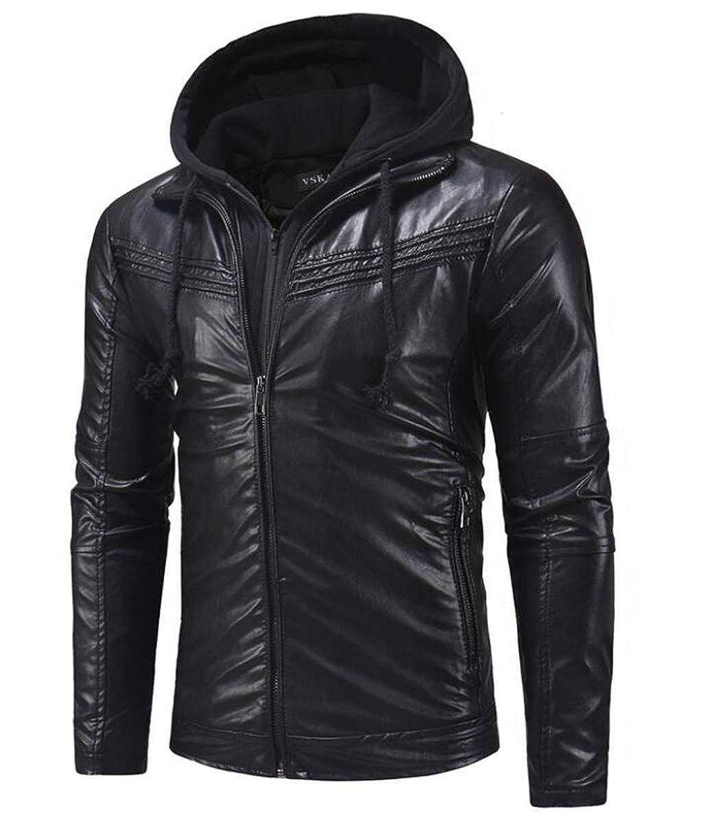 361797a73 Black Cafuny Mens Stylish Slim Fit Zipper Zipper Zipper PU Faux ...