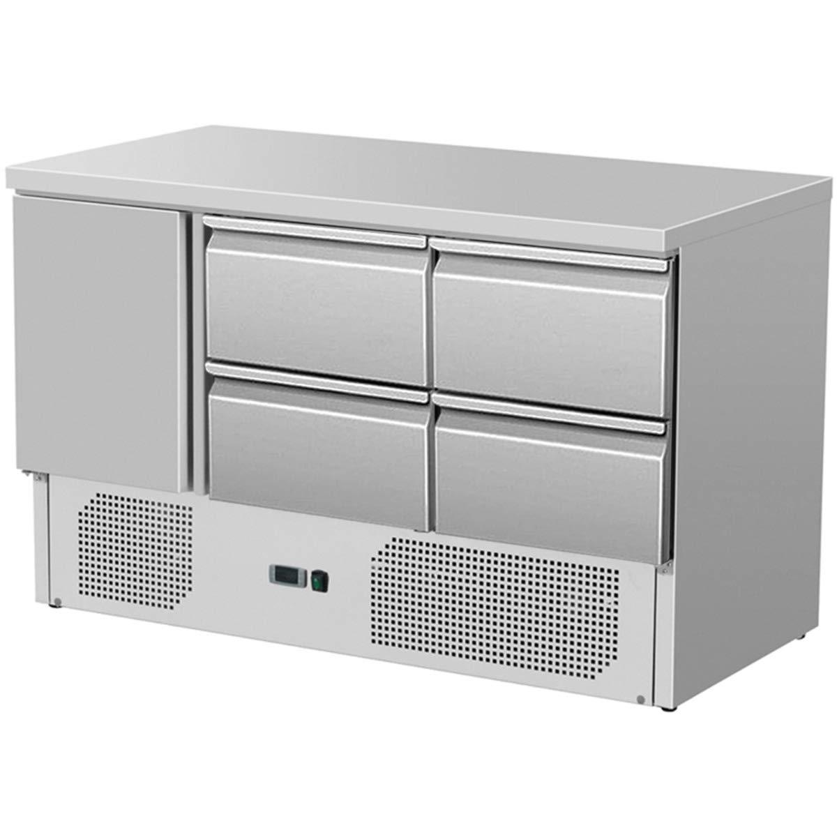 ZORRO - Kü hltisch ZS 903 4D - 1 Tü r - 4 Schubladen - Gastro Saladette mit Arbeitsflä che - R600A - Digitales Thermostat