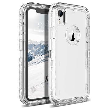 KOTPARX Funda para iPhone XR, Carcasa de Protección 360 Grados Transparente Clear [Silicona Suave TPU + Rígido Duro PC] Antigolpes Anti-Rasguño ...
