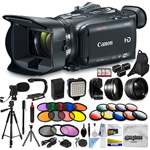 Canon XA30 HD Professional Video Camcorder + Extra Accessories, XGrip and HandGrip handles + Monopod + LED + Mic + Lense