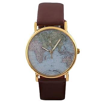 Retro world map womens quartz wrist watch brown amazon watches retro world map womens quartz wrist watch brown gumiabroncs Gallery