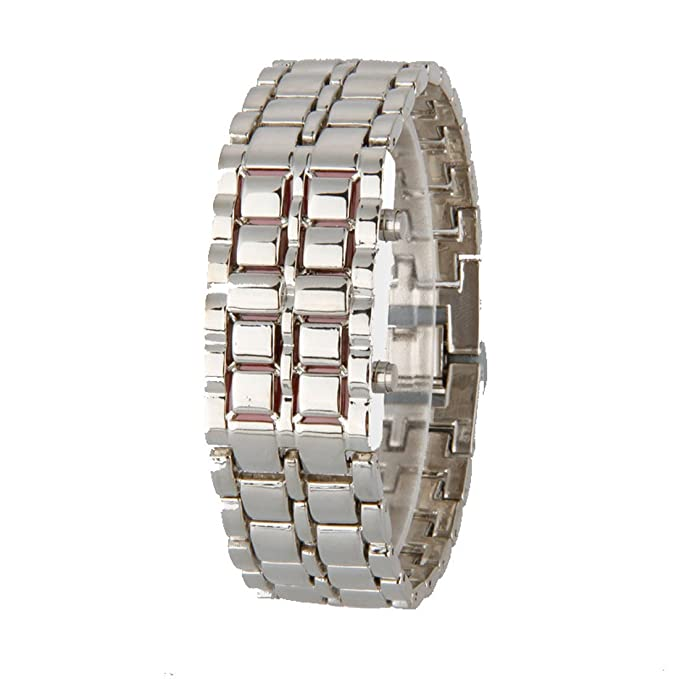 Amazon.com: Volcanic Lava Iron Samurai Metal Faceless Bracelet Fashion Led Wrist Watch Silver Red Light Alloy Woman: Watches