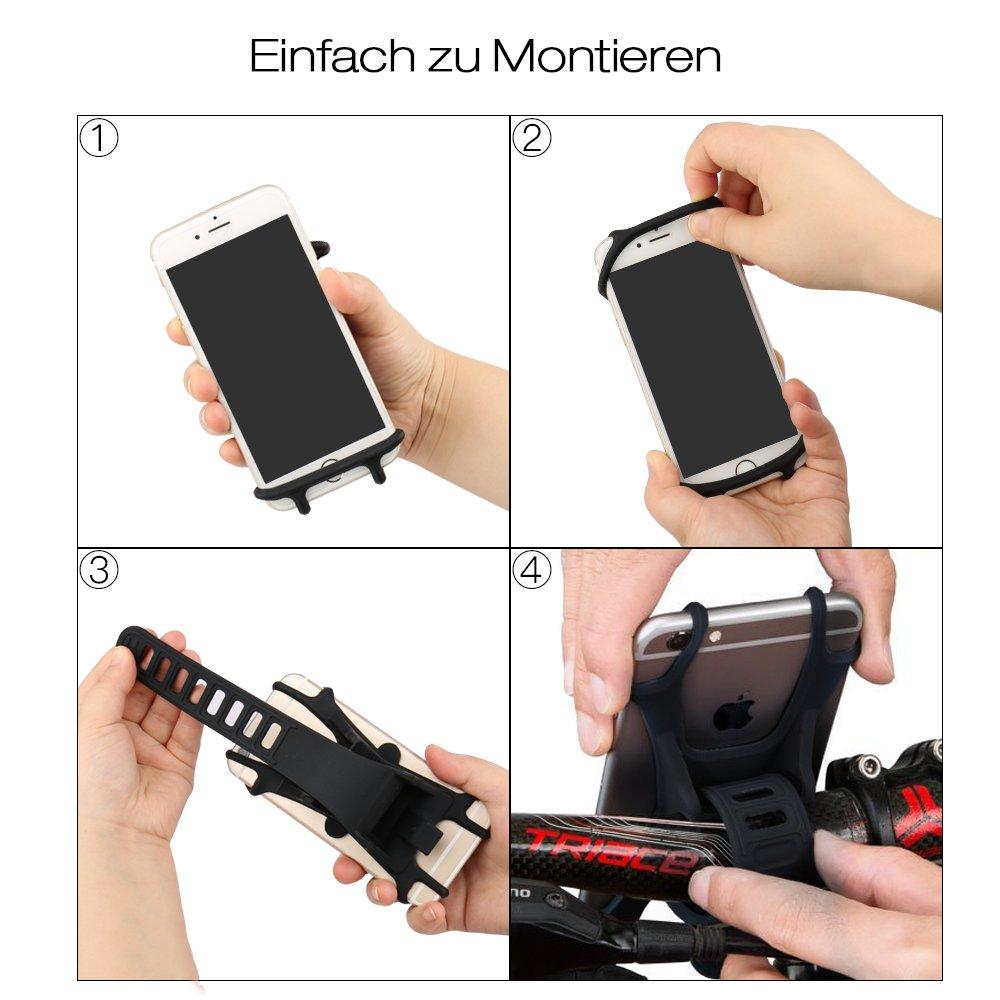 Handyhalterung Fahrrad Mountainbike Ideal f/ür Fahrrad Kinderwagen Rennrad 4,5-6,0 Zoll Jack /& Rose Fahrrad Handyhalter Silikon Verstellbarer Fahrradhalter Haltrung f/ür iPhone//Samsung Galaxy