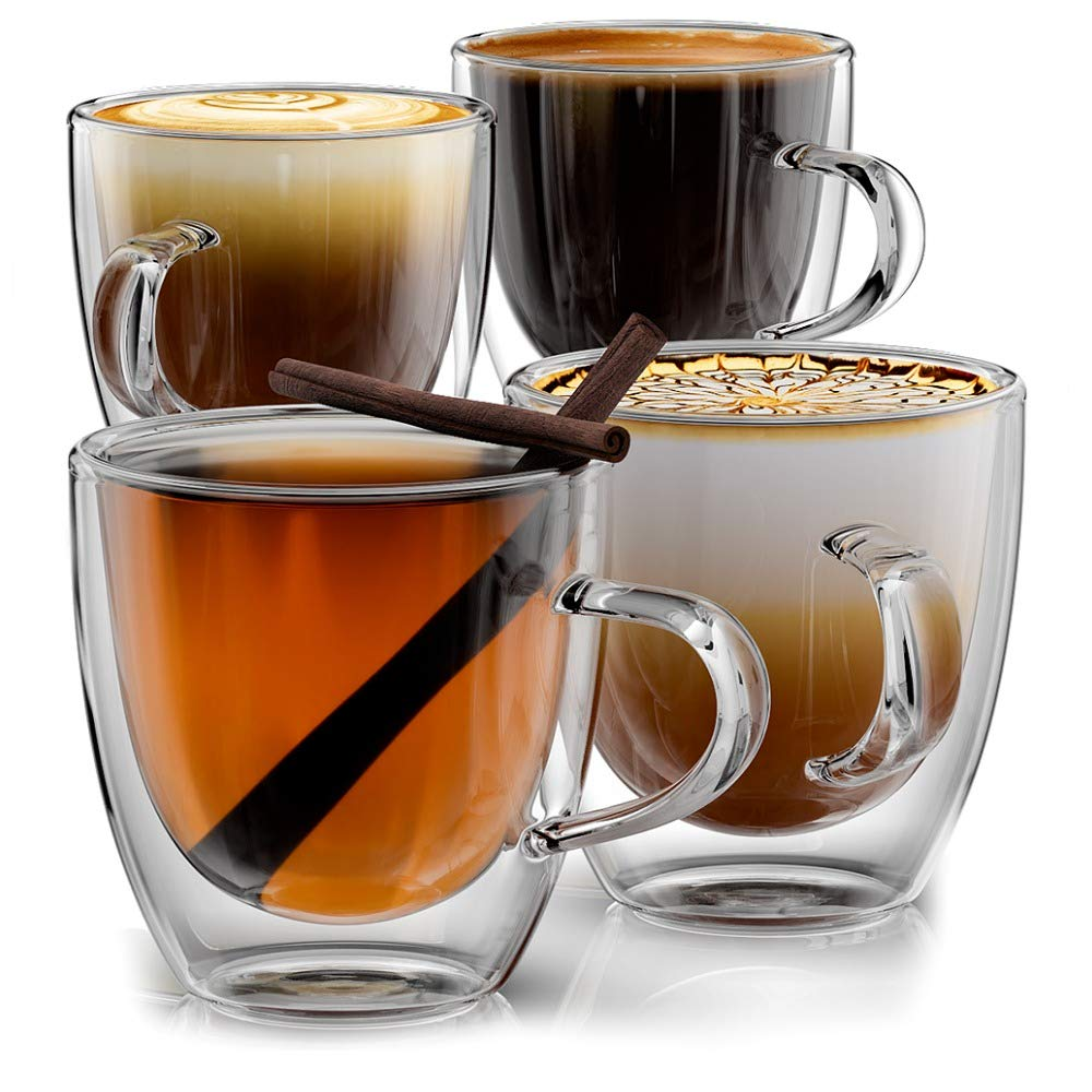 Stone & Mill Double Wall Insulated Glass Espresso Mugs Set of 4, 5 Ounce
