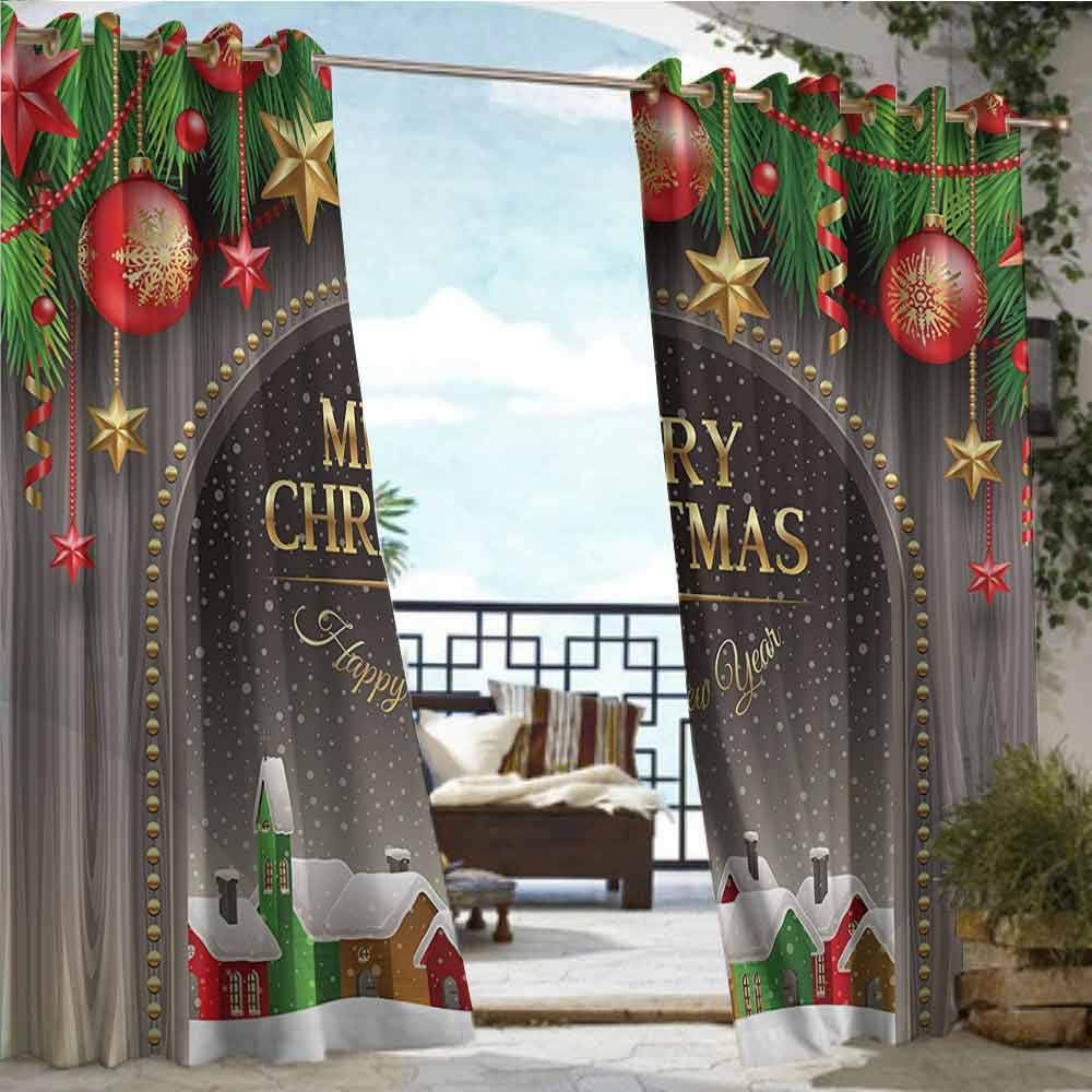 Outdoor Privacy Curtain for Pergola Merry Christmas Decoration,Christmas Gold Classic Rustic Design Season Greetings Golden Christmas Letters Village Ornament,Multi,W84''xL96'' Outdoor Patio Curtains W by Andrea Sam
