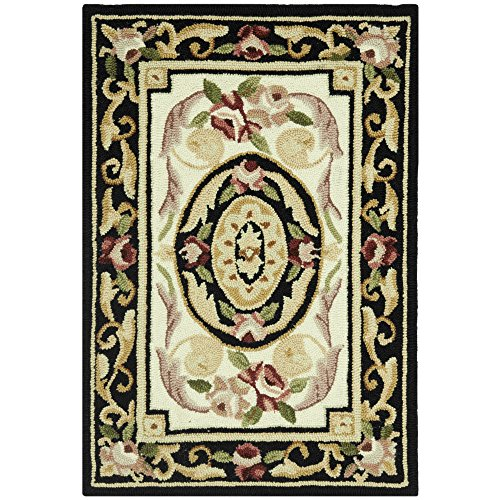 Safavieh Chelsea Collection HK72B Hand-Hooked Ivory and Black Premium Wool Area Rug (1'8
