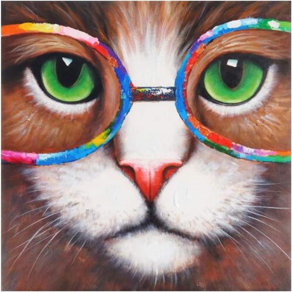 Sin marco 40x40cm Imprimir en lienzo Pop Wall Graffiti Canvas Art Pinturas en la pared Gato con gafas Acuarelas Carteles e impresiones Cuadros de animales Cuadros 15.7x15.7