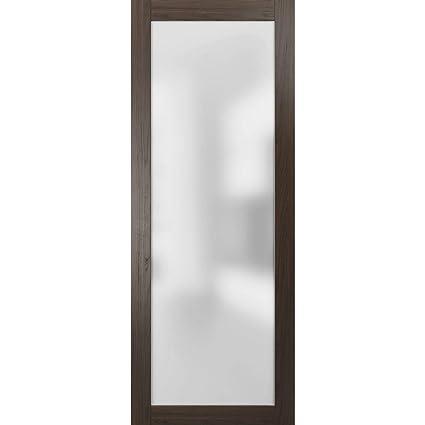 Sample of Color Sliding Barn Lite Glass Door Planum 2102 Chocolate Ash