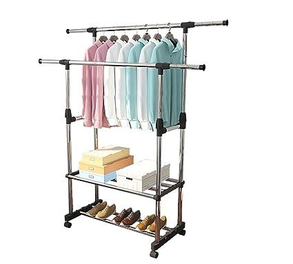 Colgadores de ropa de acero inoxidable bastidores plegables balcón barra de secado telescópica varilla doble tipo