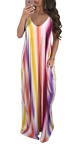 WOZNLOYE Sommer Trägerkleid Damen Sexy V Schnitt Rückenfrei Freizeit Lang  Kleider Strandkleider Fashion Bunt Maxikleid Partykleid Beachwear   Amazon.de  ... 2b6e5bc2e3