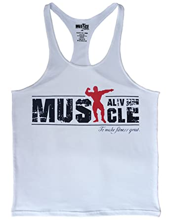 06b7fa02eddd27 MUSCLE ALIVE Mens Bodybuilding Stringer Tank Tops Cotton Racerback Arch Hem  White Color Size S