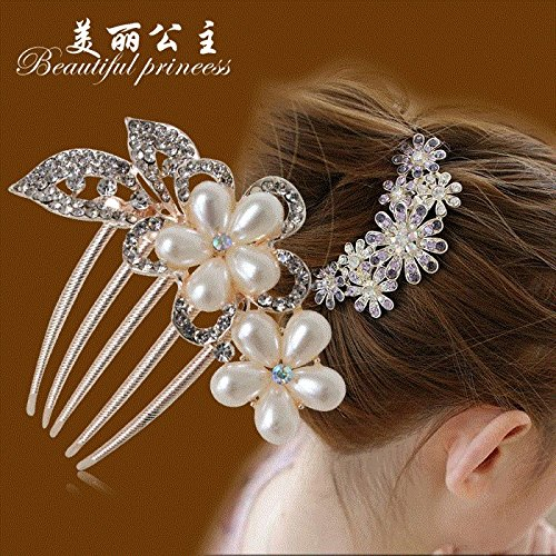 - compact disk hair bride wedding Ms gift curly hair accessories popular retro comb US-Chinese stones