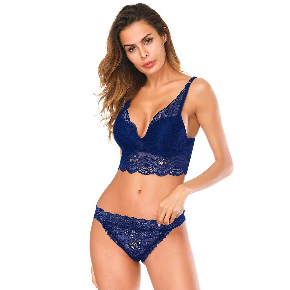 SESY Women's Push Up Bra Set Lace Floral Bralette with Panties Cute Underwear for Women