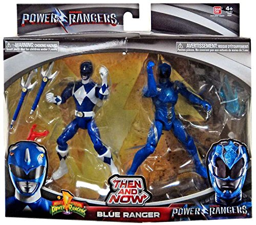 Saban's Power Rangers Then and Now Blue Ranger Action Figure Set (Mighty Morphin Power Ranger Helmet)