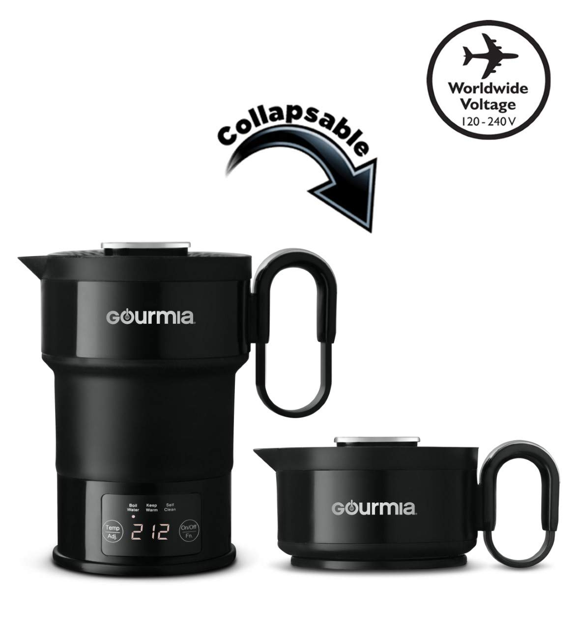 Gourmia GDK368 Digital Electric Collapsible Travel Kettle – Foldable Portable – Dual Voltage – 3 Function- Boils, Keeps Warm Self Cleans – Fast Boil – Water Heater For Coffee, Tea More – Food Grade Silicone – Boil Dry Protection – 20 oz capacity – Black
