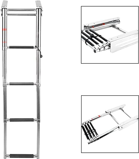 NiceDD Escalera telescópica de 4 escalones Escalera de barco montada en deslizamiento debajo de la plataforma Escalera de embarque de barco + Tornillos de montaje: Amazon.es: Deportes y aire libre