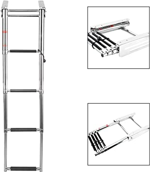 NiceDD Escalera telescópica de 4 escalones Escalera de barco ...