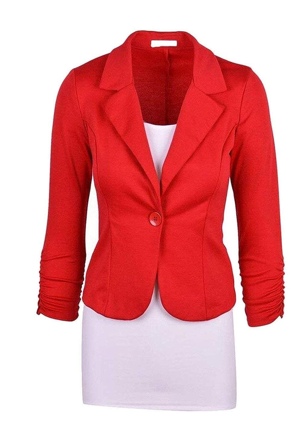 Anaisy Donna Blazer Slim Fit Autunno Ovest Button Puro Colore Giovane Bavero Manica Lunga Business Cappotto Corto Modern Stile Outerwear Women