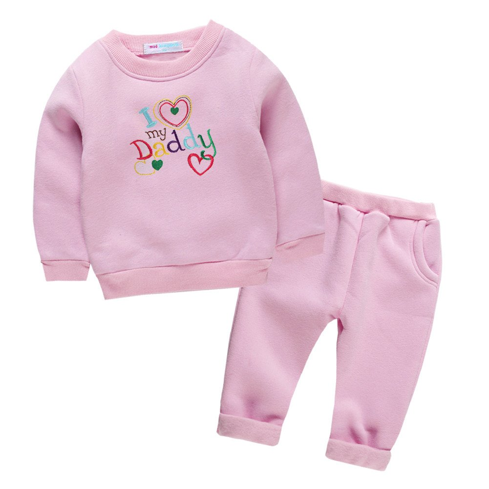 Mud Kingdom I Love My Daddy Toddler Girl Clothes Set Pink 4T