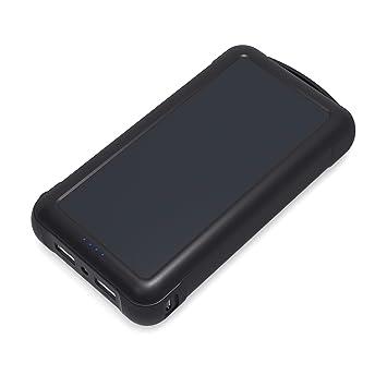AUKEY Cargador Solar Portátil 20000mAh con Panel Solar SunPower, Salida 5V 2,1A y 5V 1A, Entrada de Micro USB 5V 2A , para iPhone, Kindle, iPad, ...