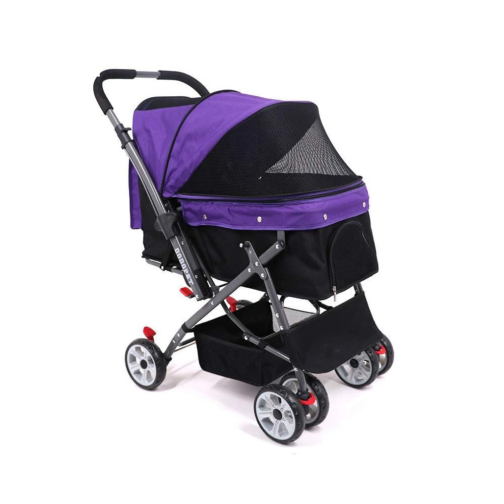 Purple Pet Stroller, Dog Cat Pet Stroller, 4 Wheel Dog Cage Stroller, Reversible Handle Bar, for Medium Pets,Purple