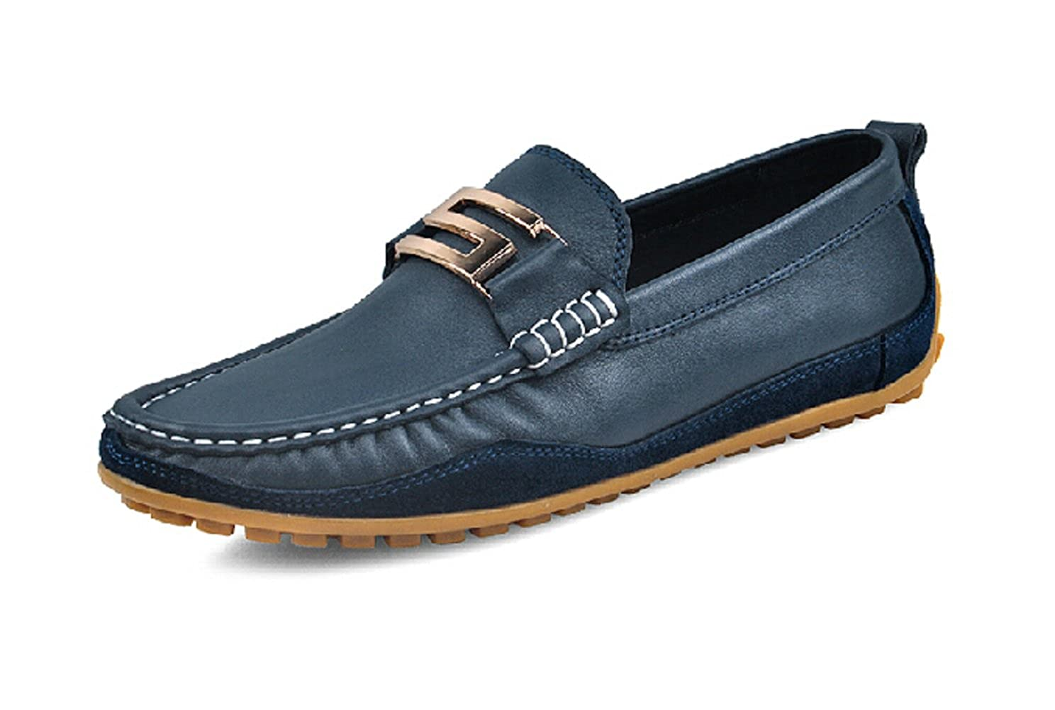 TM Mens Real Leather Buckle Moccasin Comfort Slip-On Driving Shoes Loafers