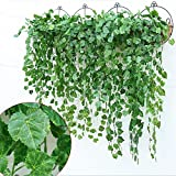 grapes decoration - YSBER 12pcs 83 Feet Artificial Ivy & Silk Fake Ivy Leaves Hanging Vine Leaves Garland for Wedding Party Garden Wall Decoration (Grape leaves)