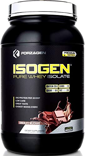 Forzagen Protein Isolate Powder – Isogen Low Carb 27g of Grass Fed Whey Protein Isolate Easiest Mixing Ever Great Taste