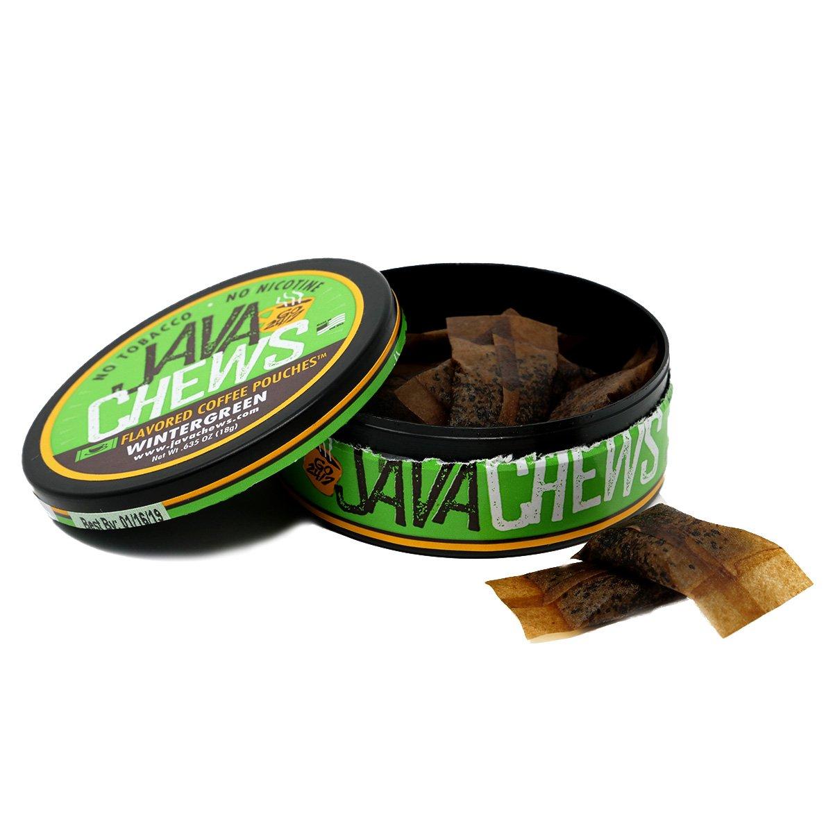 Java Chews, Premium Flavored Coffee Pouches, No Tobacco, No Nicotine Smokeless Alternative, Wintergreen (10 Cans)