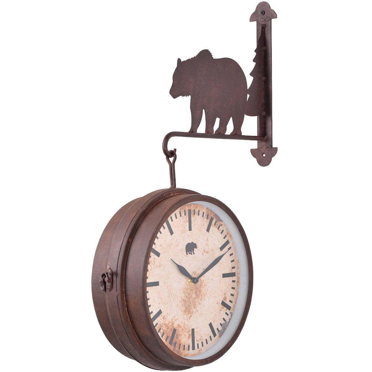 22.83 x 4.13 x 14.37 Inches NIKKY HOME Bear for Cabin Decor Wall Hanging Clock Rustic Brown CBPFX892WTD