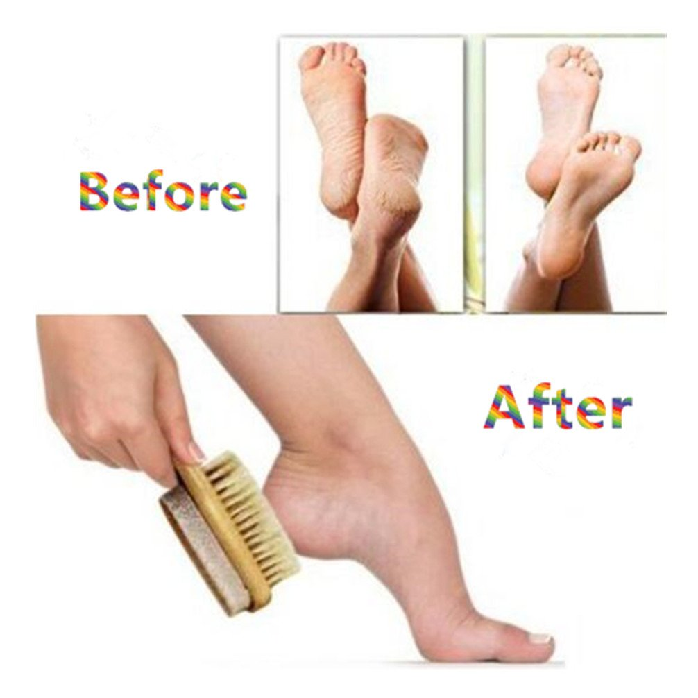 Foot Pumice Stone Brush Bristle Exfoliator Scrubber 2 Pack, Men Women Dead Skin Massage SPA Callus Remover with Wood Handle for Feet, 7\