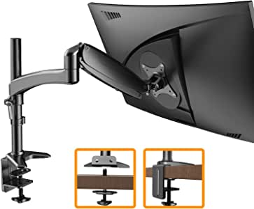 """ErGear Monitor Mount for 15-32"""" Flat/Curved Monitors, Full Motion Gas Spring Arm Improved LCD/LED Computer Monitor Riser, Height/Angle Adjustable Single Desk Mount Stand, Holds up to 17.6lbs, Black"""
