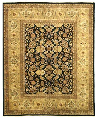EORC SA58BK Hand Knotted New Zealand Wool Tabriz Rug, 6' x 9', Black - Tabriz Center