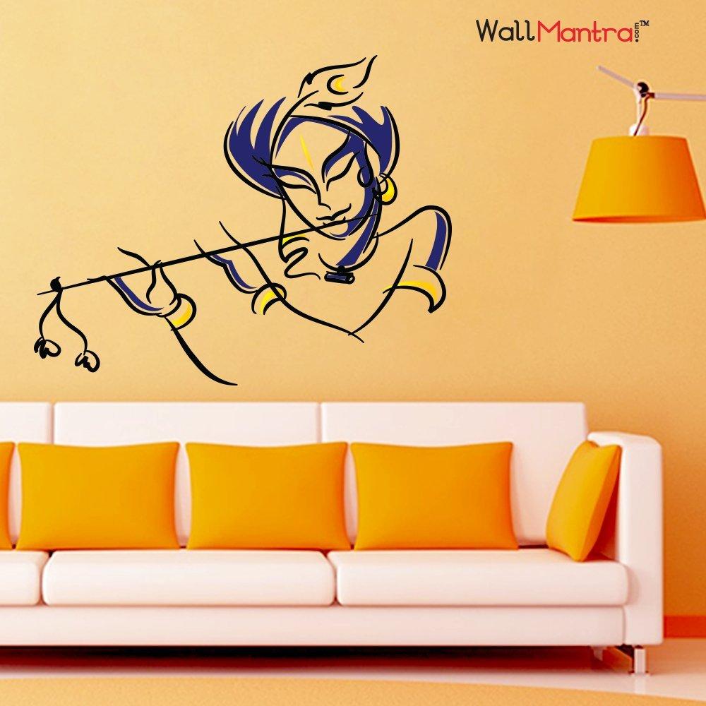 WallMantra Krishna Wall Sticker (PVC Vinyl,75x60 cm,Multicolor ...