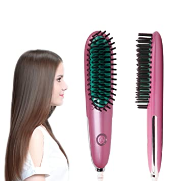 REAK Hair Straightener Brush, Fast Heating, Anti-Scald,Mini Portable  Lightweight Straightening Hair Brush...