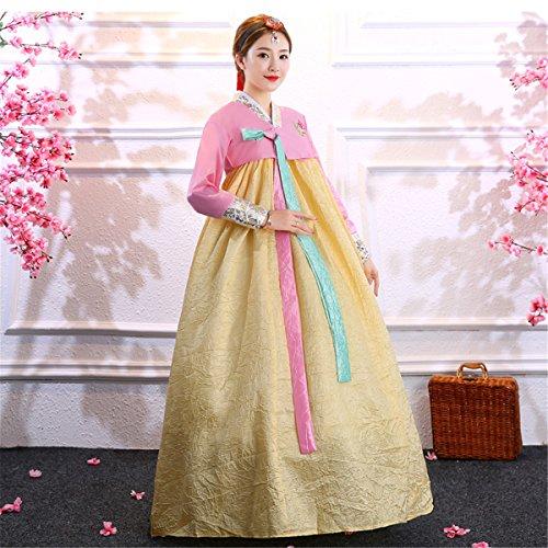 Cosplay Dress Set Korean Sleeve yellow Colorful Hanbok Women's Long XINFU Costume dress Traditional wcUx4gqzzB