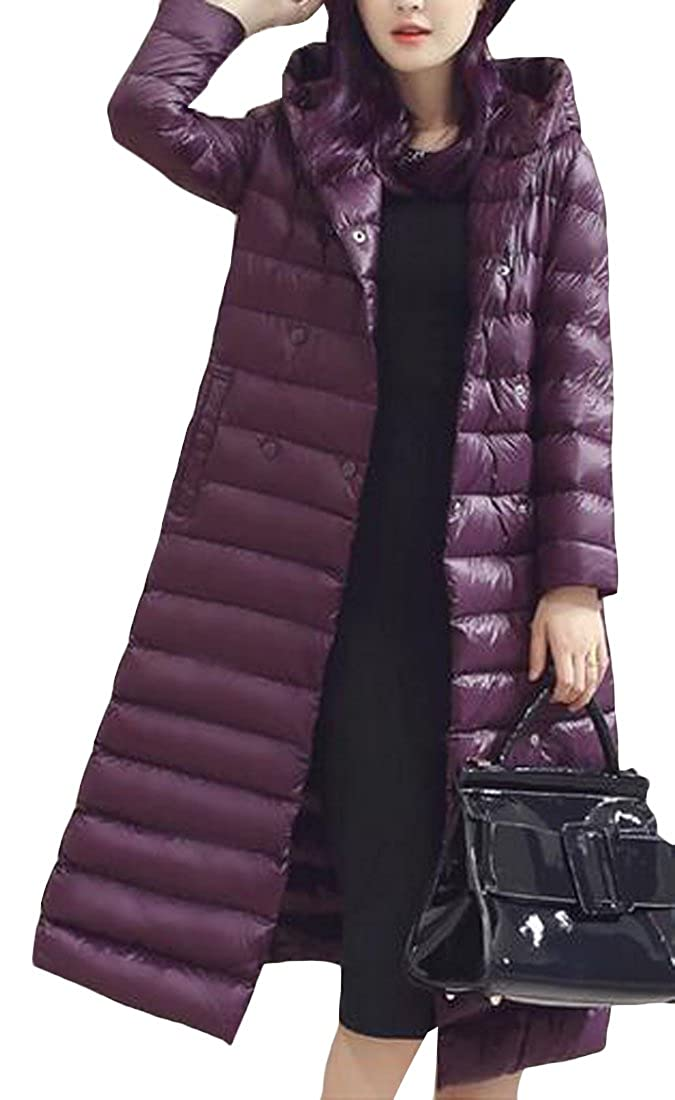 Pivaconis Womens Winter Hooded Lightweight Puffer Long Down Coat with Belt