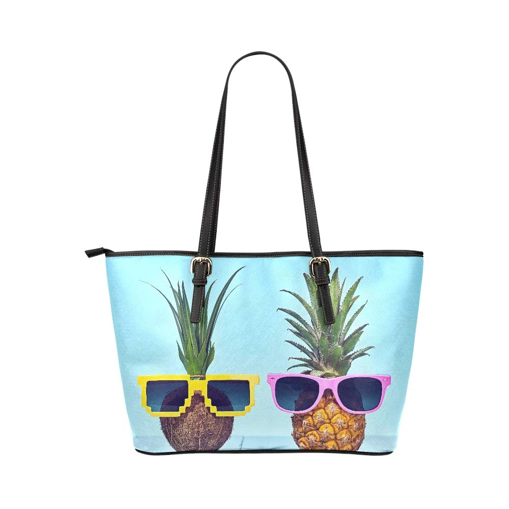 Happy Pineapple Couples With Funny Gestures Large Soft Leather Portable Top Handle Hand Totes Bags Causal Handbags With Zipper Shoulder Shopping Purse Luggage Organizer For Lady Girls Womens Work