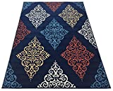 Conur Collection Damask Abstract Traditional French Design Area Rug Rugs Modern Contemporary Area Rug 3 Color Options (Navy Blue, 7'10'' x 9'10'')