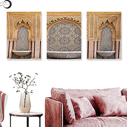 Mannwarehouse Moroccan Canvas Wall Art Typical Moroccan Tiled Fountain in The City of Rabat Near Hassan Tower Triptych Photo Frame Apricot Pale Brown W 16