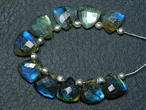 - JP_Beads 1 Strand Natural-Labradorite Faceted Trillion Briolettes -Stones Measure- 8mm