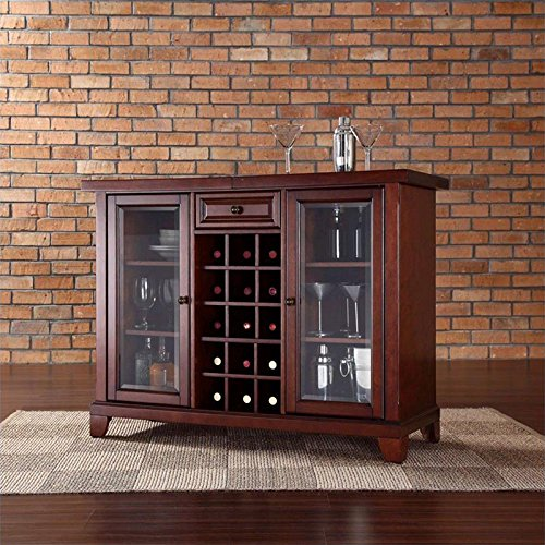 Crosley Newport Sliding Top Bar Cabinet, Vintage Mahogany Finish