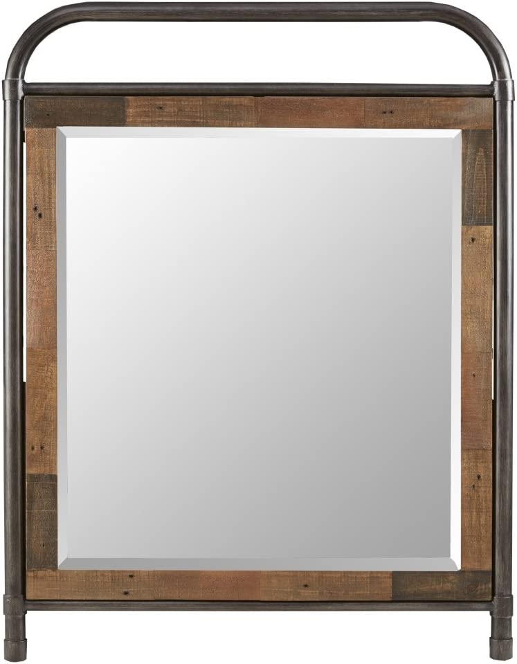 Ink Ivy Renu Mirror in Metal Frame Reclaimed Pinewood Borders