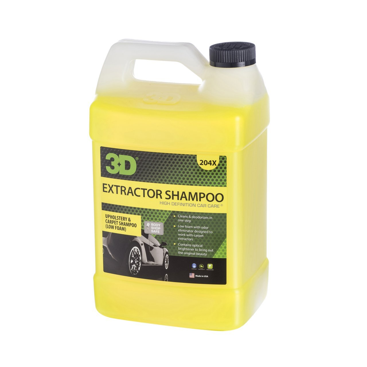 3D Extractor Shampoo Upholstery Cleaner - 1 Gallon | No Residue Low Foam Carpet Degreaser & Stain Remover | Cleans & Deodorizes | Odor Eliminator | Made in USA | All Natural | No Harmful Chemicals by 3D Auto Detailing Products